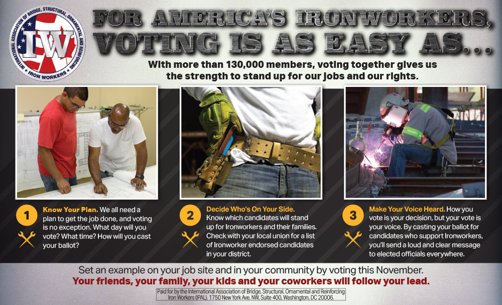 Texas Ironworkers Union mailer - back
